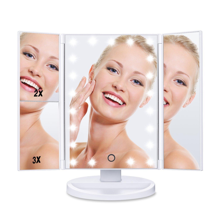 HAMSWAN Espejo de Maquillaje Tríptico Plegable