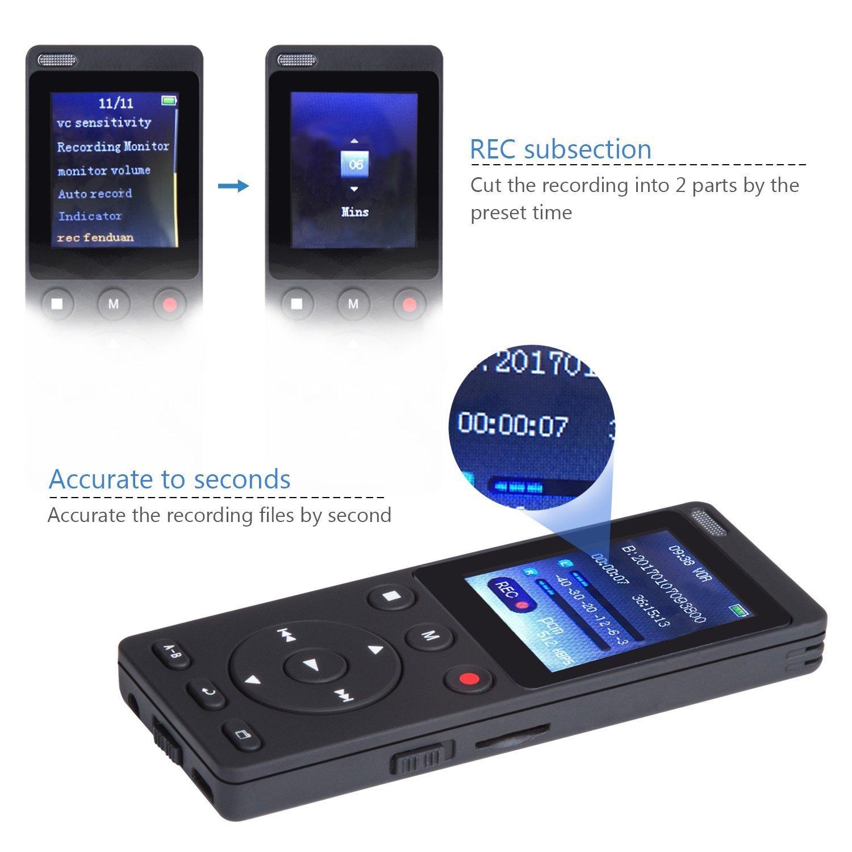 Grabadora de Voz Digital con función Altavoz y Reproductor de MP3 con Dual de 360 Grados