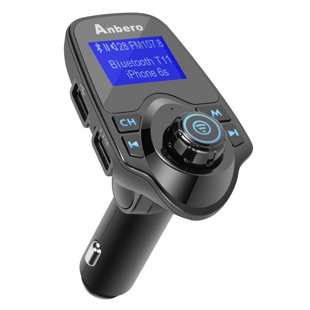 Anbero Transmisor FM Bluetooth Coche Manos Libres con Cargador USB