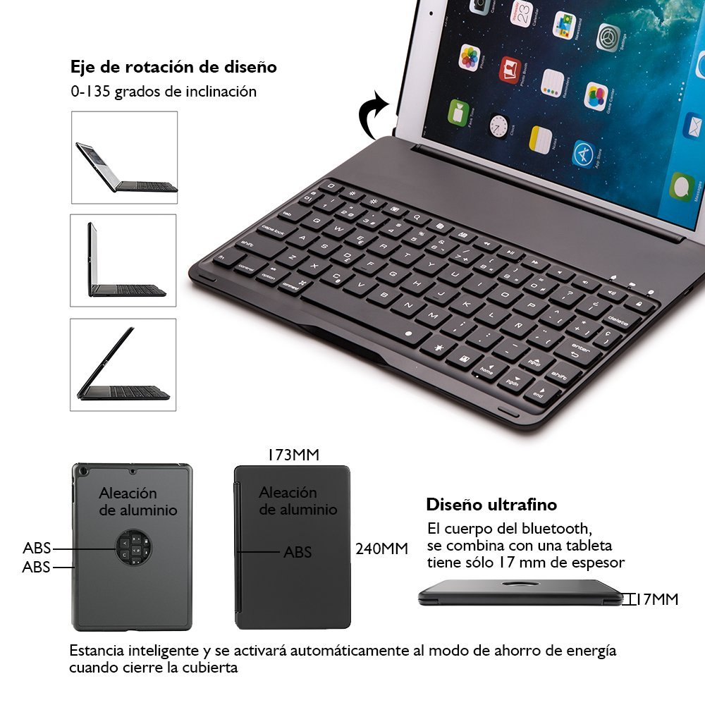 Teclado para iPad Air 2,IEGrow F8S+ Delgada Tapa Protectora Bluetooth Con 7 Colores LED Teclado Retroiluminado Para iPad Air 2