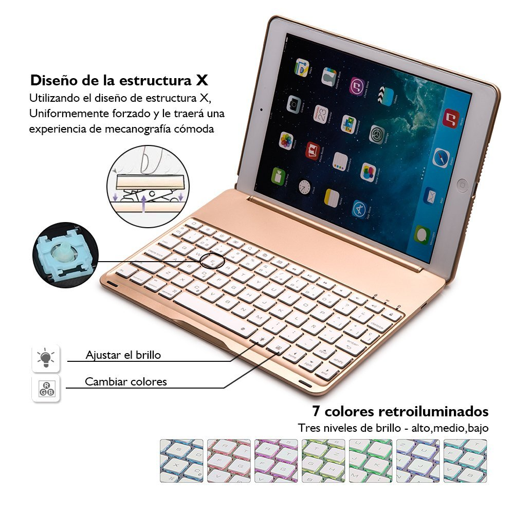 Teclado para iPad Air ,IEGrow F8S Delgada Tapa Protectora Bluetooth Con 7 Colores LED Teclado Retroiluminado Para iPad Air