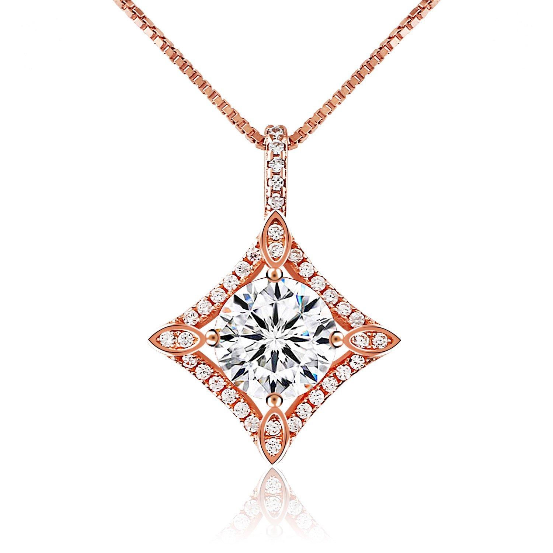 J.Rosée Collar Plata de ley 925 3A Circón Collar Colgante De Corazón