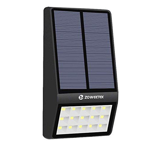 Zoweetek ® Luz solar 15 LED Impermeable 2000mAh Lámpara con Sensor de Movimiento