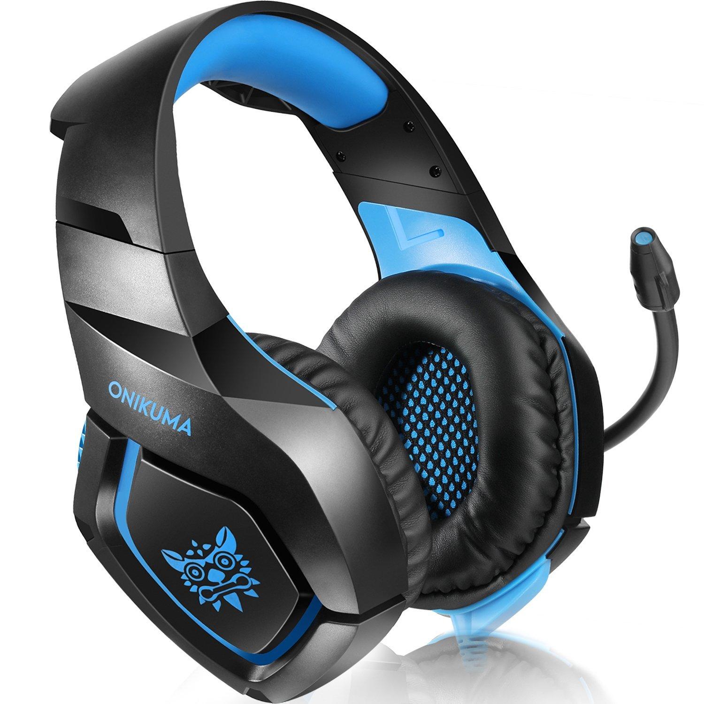 onikuma PS4 Gaming Headset través de oído Stereo Gaming Auriculares con Noise Cancelling